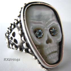 Aqua Eyes Pearl Skull Ring