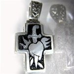 Silver Cross Heart with Dagger Pendant