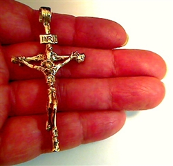 Crucifix Passion of Christ solid 10k gold No Chain by RXVrings