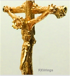 Crucifix Passion of Christ solid 14k gold No Chain by RXVrings
