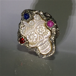 Silver Ring Mother of Pearl Frida Skull