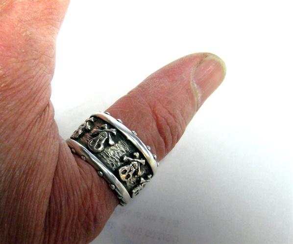 Pirate Skull Band Crossbones All Silver
