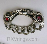 Raven Skulls Custom Feathered Links Bracelet Cycle of life