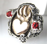 Sacred Heart Ring Memento Mori Skull Ring