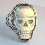 Silver Skull Ring with Mother of Pearl Skull