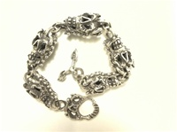Skulls chain Bracelet all Sterling 925 silver all soldered links