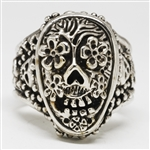 Day of the Dead May Flowers stainless steel Ring