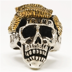 Stainless Steel Trump Skull Ring with 18k Gold Hair