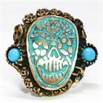 Bronze Turquoise Sugar Skull Ring