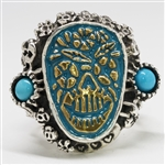 Stainless Steel Turquoise Sugar Skull Ring